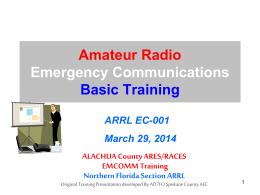 EmComm1 Review - Alachua County ARES