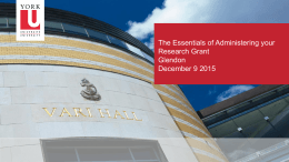 The Essentials of Administering your Research Grant