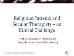 Religious Patients and Secular Psychotherapists