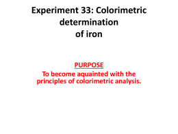 Experiment 22: Colorimetric determination of an