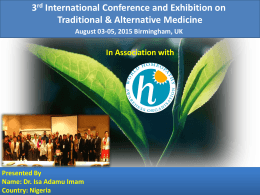 CHL: Cordia hexane leaf , CMB - Traditional Medicine Conferences