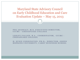 Maryland State Advisory Council on Early Childhood Education and