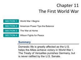Chapter 11 The First World War