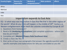 Imperialism expands to East Asia - PBworks