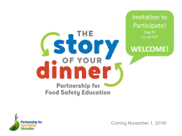 Invitation to health educators—The Story of Your Dinner