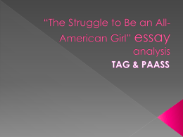 *The Struggle to Be an All-American Girl* essay analysis