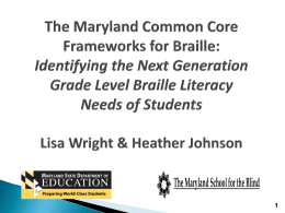 The Maryland Common Core Frameworks for