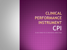 Clinical performance instrument