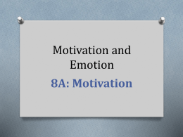 Unit 8: Motivation and Emotion