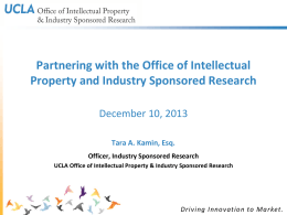 Industry Sponsored Research Presentation 12.10.13