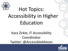 Technology Access In Higher - Assistive Technology Initiative