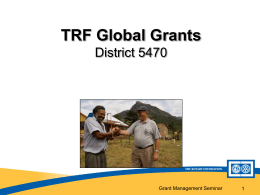 District Rotary Foundation Grant Management Seminar