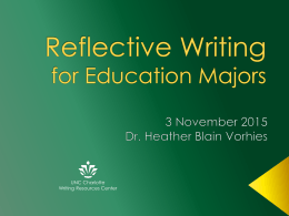 Reflective Writing for Education Majors