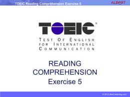TOEIC Reading Comprehension Exercise 5