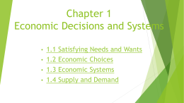 Chapter 1 Economic Decisions and Systems