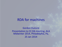 RDA for machines