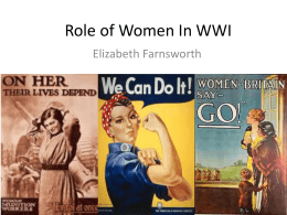 Role of Women In WWI