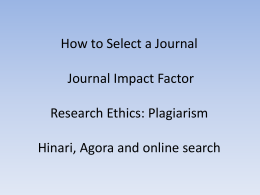2013_Journal selection -IF- Ethics-search_RS1