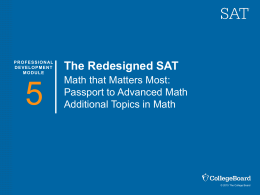 Teacher Training for the Redesigned SAT: Passport to Advanced