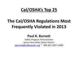 Cal_OSHA_Top_25_for_2013 - Alliance Occupational Medicine