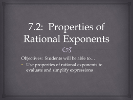 7.2: Properties of Rational Exponents