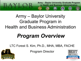 Army-Baylor Program Overview Briefing