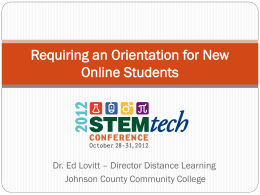 Requiring an Orientation for New Online Students