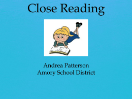 Close Reading - Amory School District