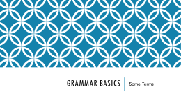 PPT Grammar Boot Camp 1