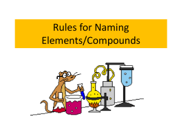 Rules for Naming Elements/Compounds