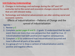 Effects of Industrialization – Patterns of Change and the spread