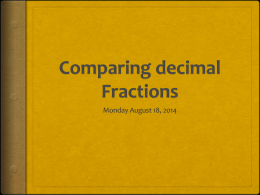 Comparing decimal Fractions