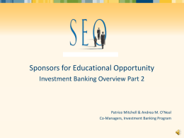 1:30 pm - Sponsors for Educational Opportunity