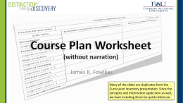 Course Plan Worksheet