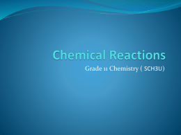 Chemical Reactions - OISE-IS-Chemistry-2011-2012