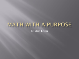 Math With a purpose - Math Recovery and More