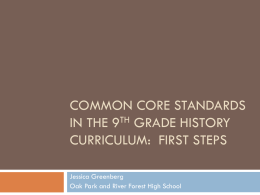 Session C-4: Common Core Standards in the Ninth Grade History
