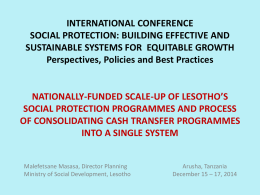 INTERNATIONAL CONFERENCE SOCIAL PROTECTION