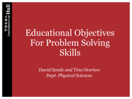 Educational Objectives For Problem Solving
