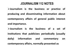 Journalism 112 notes