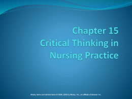 Chapter 15 Critical Thinking in Nursing Practice