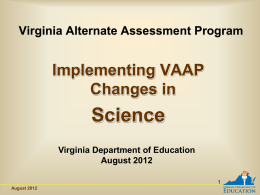 Implementing VAAP Changes in Science File