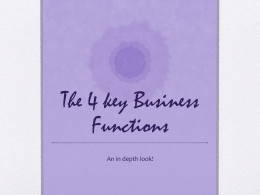 The 4 key Business Functions