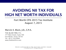 Avoiding NII Tax For High Net Worth Individuals