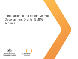 Export Market Development Grants (EMDG)