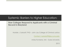 Barriers to a College Education