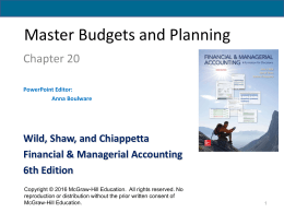 Master Budgets and Planning - McGraw Hill Higher Education