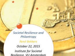 Societal Resilience and Philanthropy. Institute for