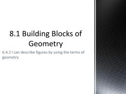 8.1 Building Blocks of Geometry