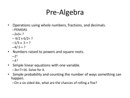 Pre and Elementary Algebra ACT Powerpoint